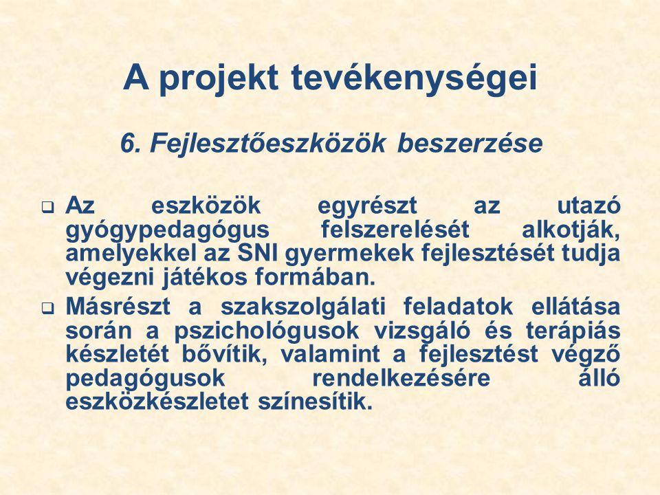 A projekt tevékenységei 6.