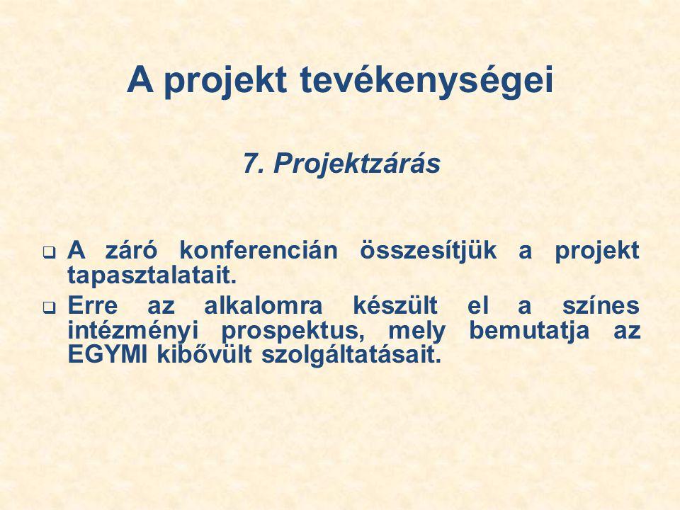 A projekt tevékenységei 7. Projektzárás  A záró konferencián összesítjük a projekt tapasztalatait.