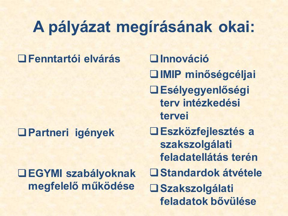 A pályázat megírásának okai:  Fenntartói elvárás  Partneri igények  EGYMI szabályoknak megfelelő működése  Innováció  IMIP minőségcéljai  Esélyegyenlőségi terv intézkedési tervei  Eszközfejlesztés a szakszolgálati feladatellátás terén  Standardok átvétele  Szakszolgálati feladatok bővülése