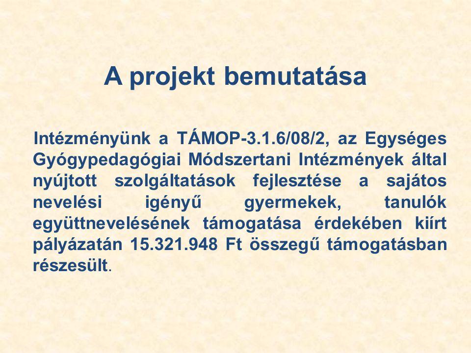 A projekt bemutatása Intézményünk a TÁMOP-3.1.6/08/2, az Egységes Gyógypedagógiai Módszertani Intézmények által nyújtott szolgáltatások fejlesztése a sajátos nevelési igényű gyermekek, tanulók együttnevelésének támogatása érdekében kiírt pályázatán 15.321.948 Ft összegű támogatásban részesült.