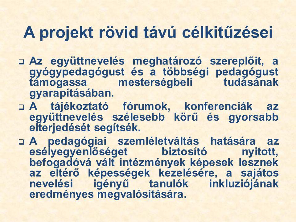 A projekt tevékenységei 1.Pedagógus továbbképzések  A gyakorlatorientált továbbképzések (pl.