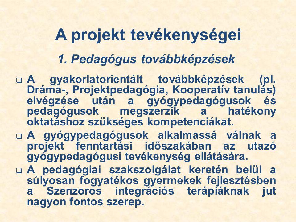 A projekt tevékenységei 1. Pedagógus továbbképzések  A gyakorlatorientált továbbképzések (pl.