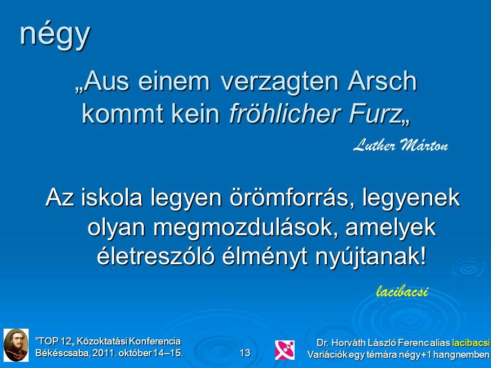 """""""TOP 12"""" Közoktatási Konferencia Békéscsaba, 2011. október 14–15. Dr. Horváth László Ferenc alias lacibacsi Variációk egy témára négy+1 hangnemben 13"""