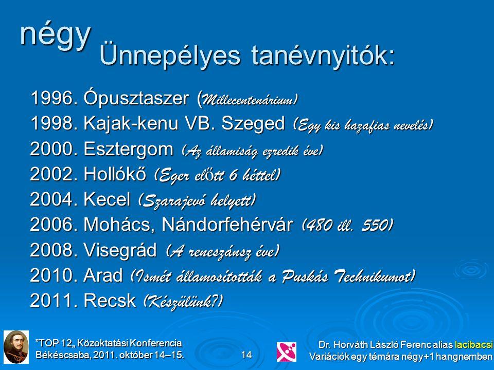 """""""TOP 12"""" Közoktatási Konferencia Békéscsaba, 2011. október 14–15. Dr. Horváth László Ferenc alias lacibacsi Variációk egy témára négy+1 hangnemben 14"""