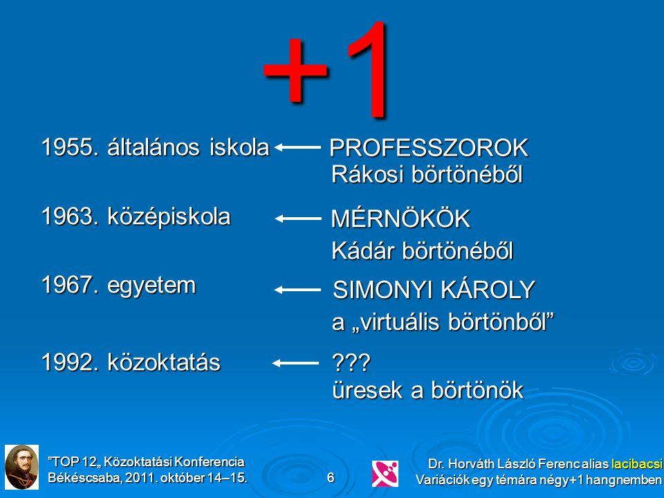 """""""TOP 12"""" Közoktatási Konferencia Békéscsaba, 2011. október 14–15. Dr. Horváth László Ferenc alias lacibacsi Variációk egy témára négy+1 hangnemben 6 1"""