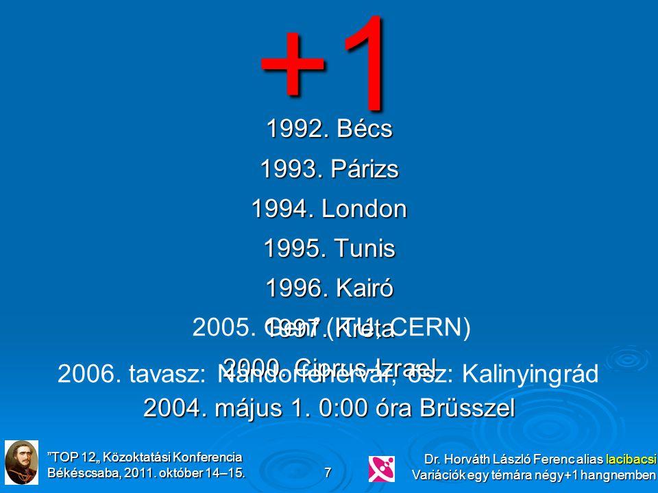 """""""TOP 12"""" Közoktatási Konferencia Békéscsaba, 2011. október 14–15. Dr. Horváth László Ferenc alias lacibacsi Variációk egy témára négy+1 hangnemben 7 1"""