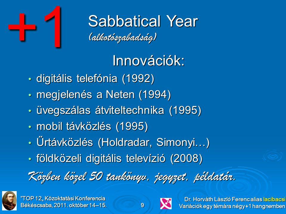 """""""TOP 12"""" Közoktatási Konferencia Békéscsaba, 2011. október 14–15. Dr. Horváth László Ferenc alias lacibacsi Variációk egy témára négy+1 hangnemben 9 I"""