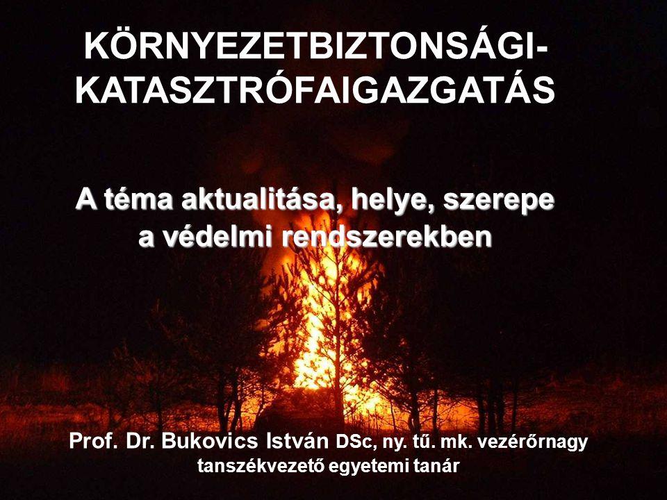 Prof. Dr. Bukovics István DSc, ny. tű. mk. vezérőrnagy tanszékvezető egyetemi tanár KÖRNYEZETBIZTONSÁGI- KATASZTRÓFAIGAZGATÁS A téma aktualitása, hely