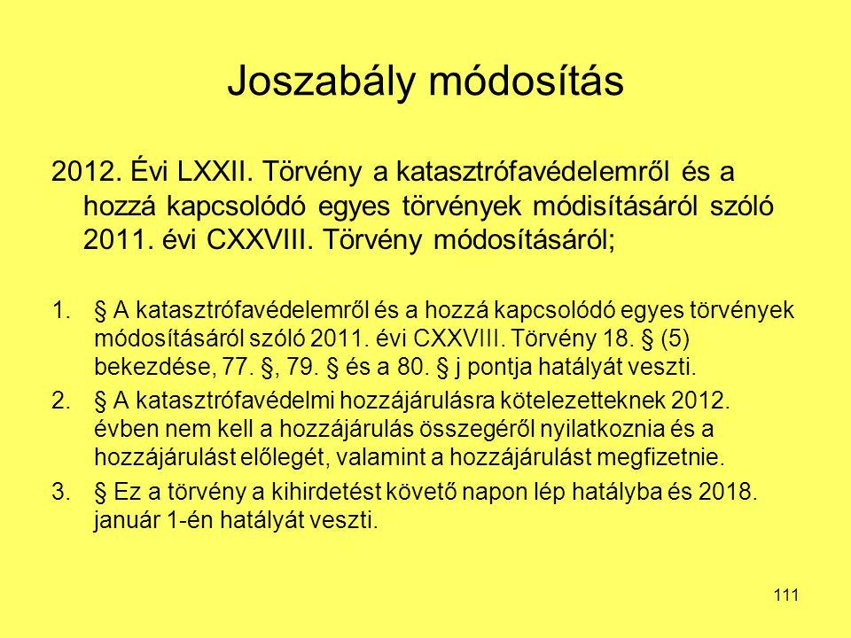 Joszabály módosítás 2012. Évi LXXII. Törvény a katasztrófavédelemről és a hozzá kapcsolódó egyes törvények módisításáról szóló 2011. évi CXXVIII. Törv