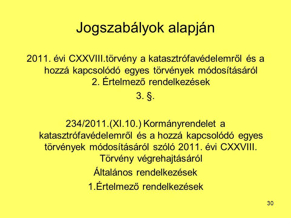 Jogszabályok alapján 2011. évi CXXVIII.törvény a katasztrófavédelemről és a hozzá kapcsolódó egyes törvények módosításáról 2. Értelmező rendelkezések