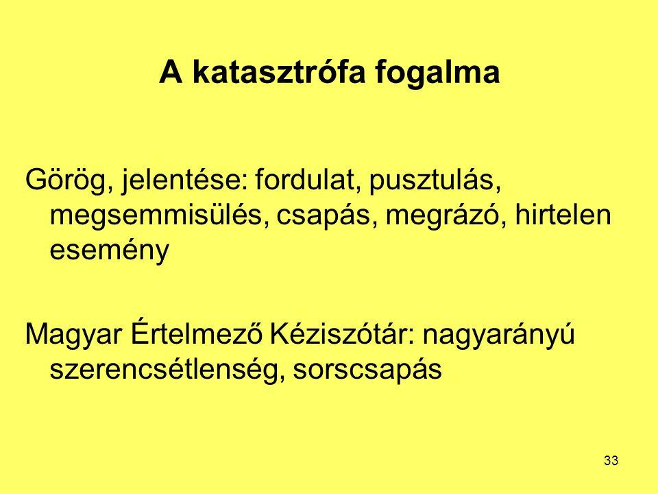 A katasztrófa fogalma Görög, jelentése: fordulat, pusztulás, megsemmisülés, csapás, megrázó, hirtelen esemény Magyar Értelmező Kéziszótár: nagyarányú szerencsétlenség, sorscsapás 33