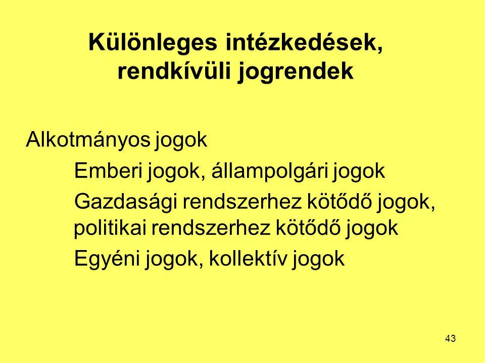 Különleges intézkedések, rendkívüli jogrendek Alkotmányos jogok Emberi jogok, állampolgári jogok Gazdasági rendszerhez kötődő jogok, politikai rendszerhez kötődő jogok Egyéni jogok, kollektív jogok 43