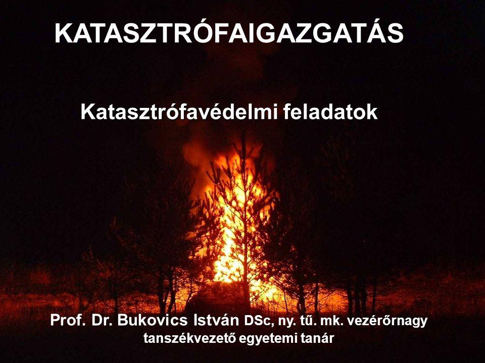 Prof. Dr. Bukovics István DSc, ny. tű. mk. vezérőrnagy tanszékvezető egyetemi tanár KATASZTRÓFAIGAZGATÁS Katasztrófavédelmi feladatok 59