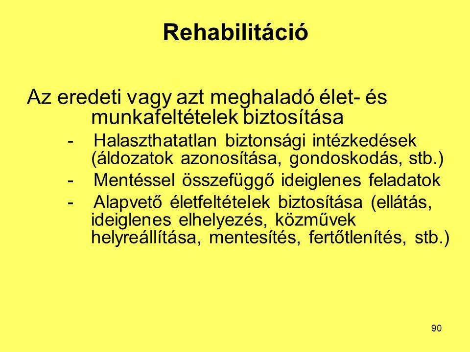 Rehabilitáció Az eredeti vagy azt meghaladó élet- és munkafeltételek biztosítása - Halaszthatatlan biztonsági intézkedések (áldozatok azonosítása, gondoskodás, stb.) - Mentéssel összefüggő ideiglenes feladatok - Alapvető életfeltételek biztosítása (ellátás, ideiglenes elhelyezés, közművek helyreállítása, mentesítés, fertőtlenítés, stb.) 90