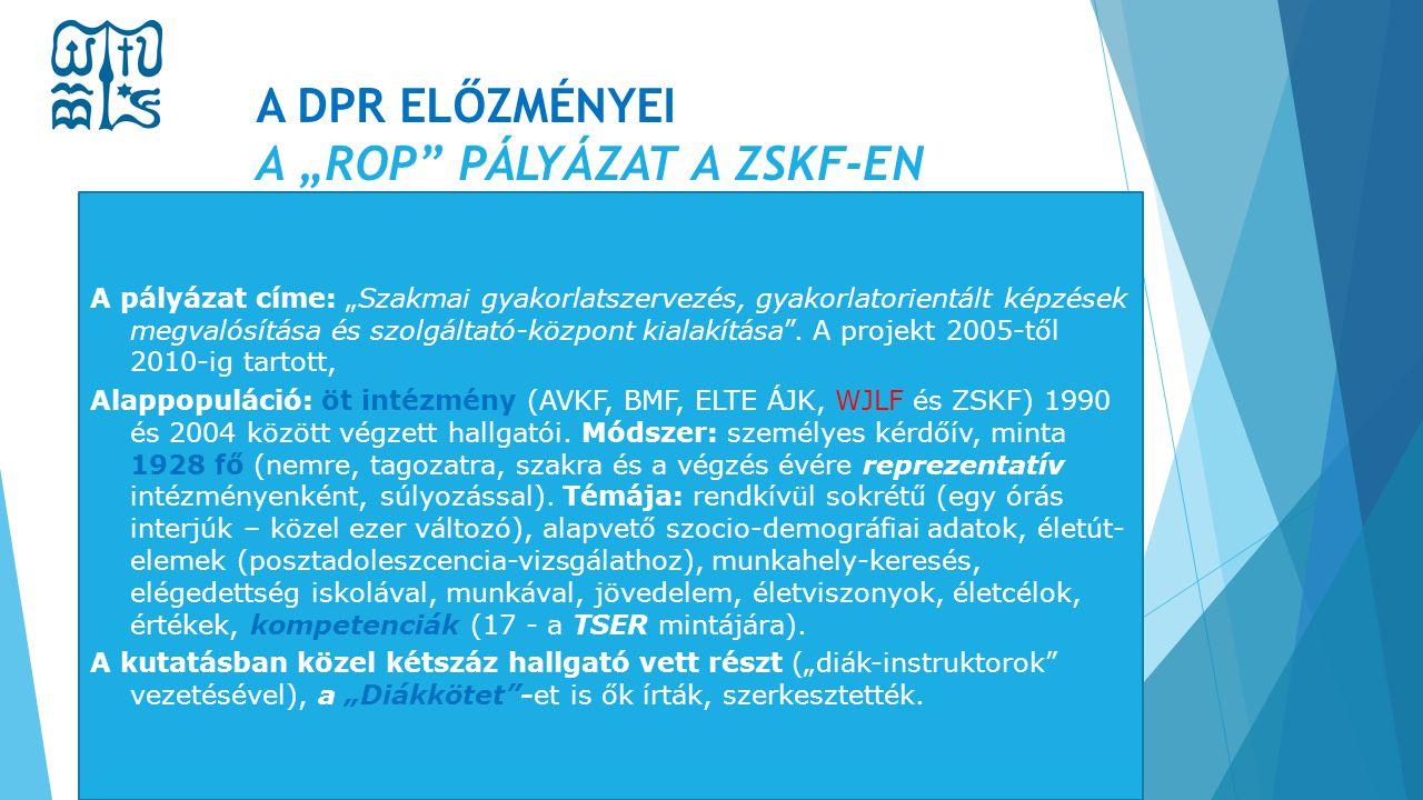 """A DPR ELŐZMÉNYEI A """"ROP"""" PÁLYÁZAT A ZSKF-EN A pályázat címe: """"Szakmai gyakorlatszervezés, gyakorlatorientált képzések megvalósítása és szolgáltató-köz"""