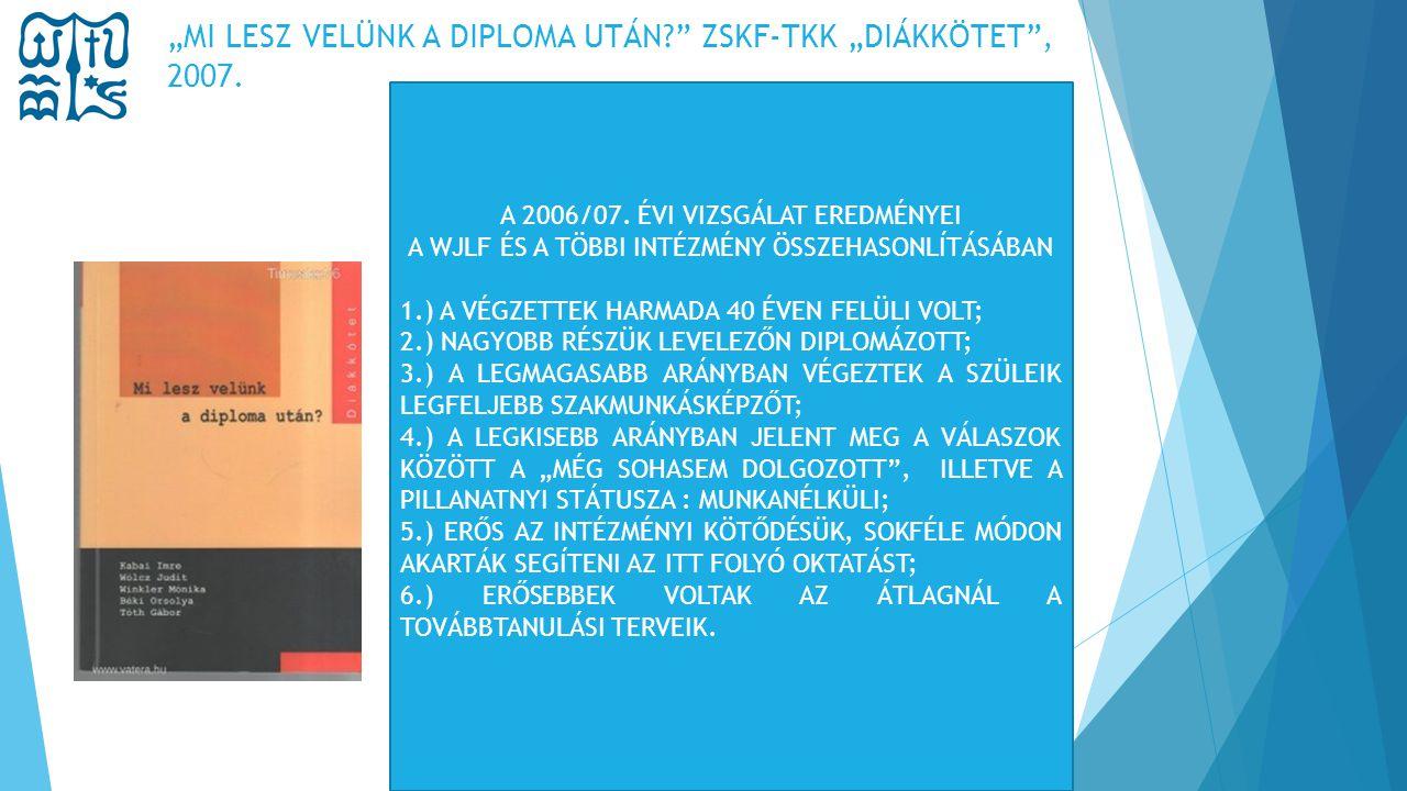 """""""MI LESZ VELÜNK A DIPLOMA UTÁN?"""" ZSKF-TKK """"DIÁKKÖTET"""", 2007. A 2006/07. ÉVI VIZSGÁLAT EREDMÉNYEI A WJLF ÉS A TÖBBI INTÉZMÉNY ÖSSZEHASONLÍTÁSÁBAN 1.) A"""