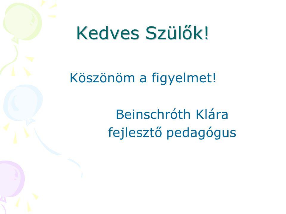 Kedves Szülők! Köszönöm a figyelmet! Beinschróth Klára fejlesztő pedagógus