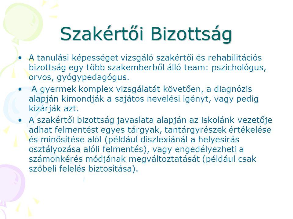 Szakértői Bizottság A tanulási képességet vizsgáló szakértői és rehabilitációs bizottság egy több szakemberből álló team: pszichológus, orvos, gyógype