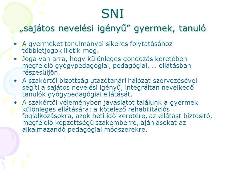 """SNI """"sajátos nevelési igényű"""" gyermek, tanuló A gyermeket tanulmányai sikeres folytatásához többletjogok illetik meg. Joga van arra, hogy különleges g"""