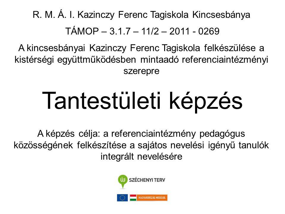 R. M. Á. I. Kazinczy Ferenc Tagiskola Kincsesbánya TÁMOP – 3.1.7 – 11/2 – 2011 - 0269 A kincsesbányai Kazinczy Ferenc Tagiskola felkészülése a kistérs