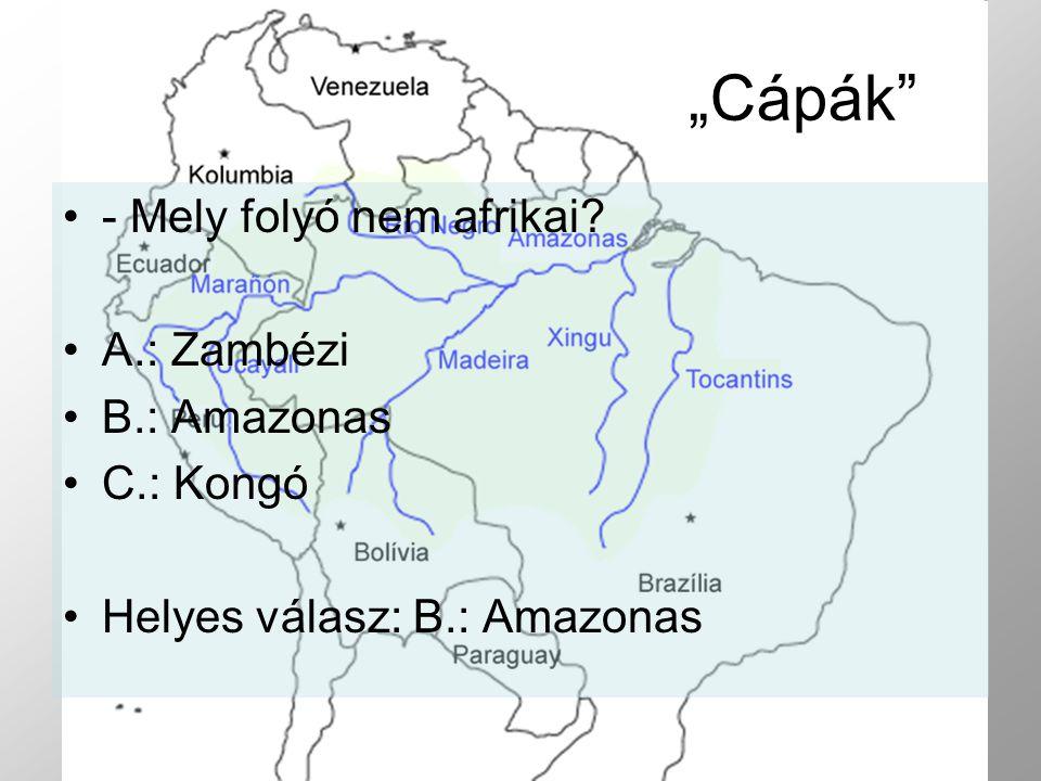 - Mely folyó nem afrikai? A.: Zambézi B.: Amazonas C.: Kongó Helyes válasz: B.: Amazonas