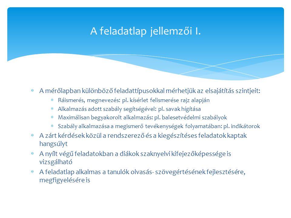 A feladatlap jellemzői II.