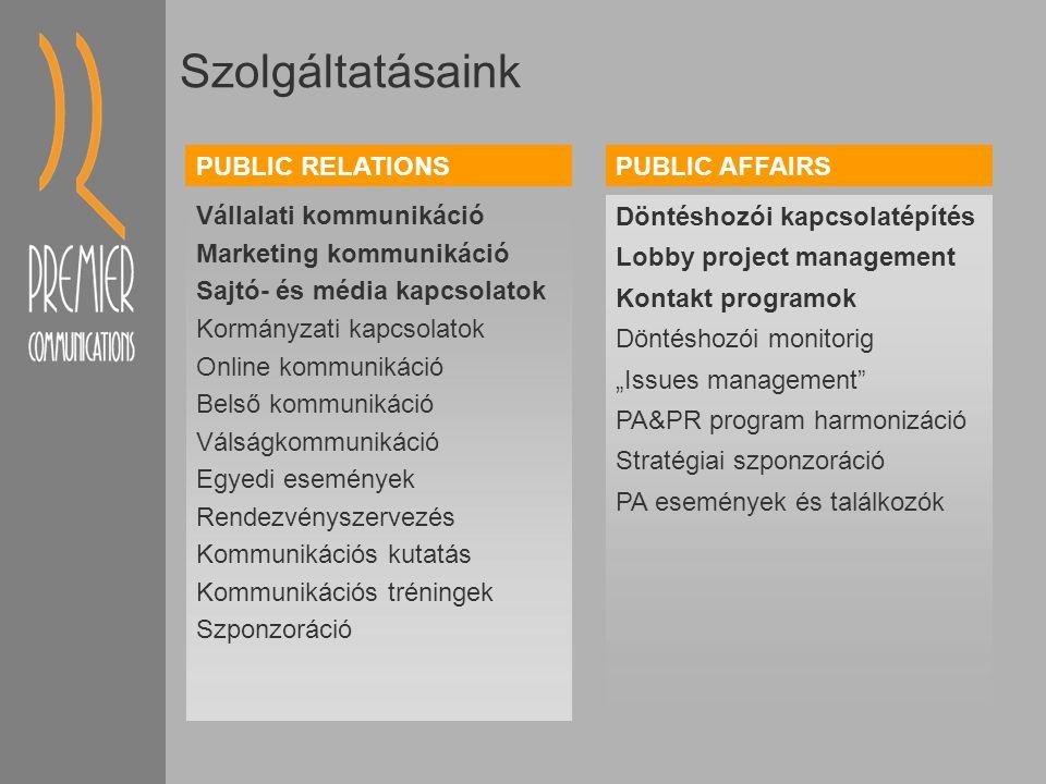 """Szolgáltatásaink Vállalati kommunikáció Marketing kommunikáció Sajtó- és média kapcsolatok Kormányzati kapcsolatok Online kommunikáció Belső kommunikáció Válságkommunikáció Egyedi események Rendezvényszervezés Kommunikációs kutatás Kommunikációs tréningek Szponzoráció Döntéshozói kapcsolatépítés Lobby project management Kontakt programok Döntéshozói monitorig """"Issues management PA&PR program harmonizáció Stratégiai szponzoráció PA események és találkozók PUBLIC RELATIONSPUBLIC AFFAIRS"""