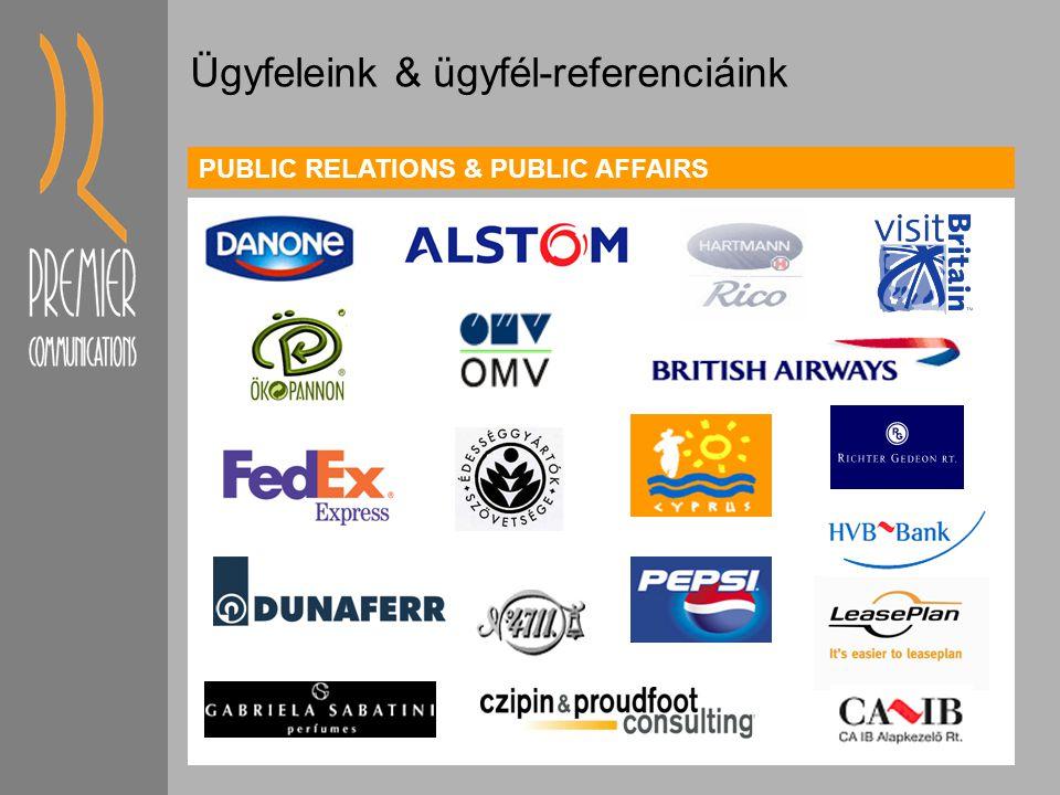 PUBLIC RELATIONS & PUBLIC AFFAIRS Travel, transportation, tourism FMCGHealth & social Environment Bank & finance Szolgáltatás központok & iparági tapasztalatunk