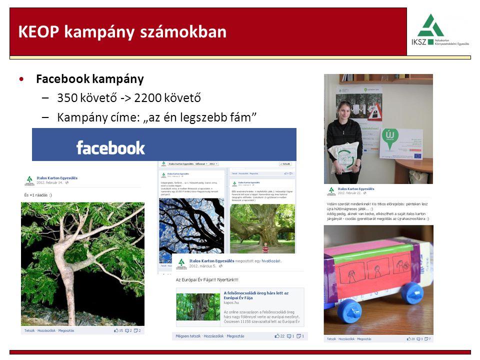 """KEOP kampány számokban Facebook kampány –350 követő -> 2200 követő –Kampány címe: """"az én legszebb fám"""
