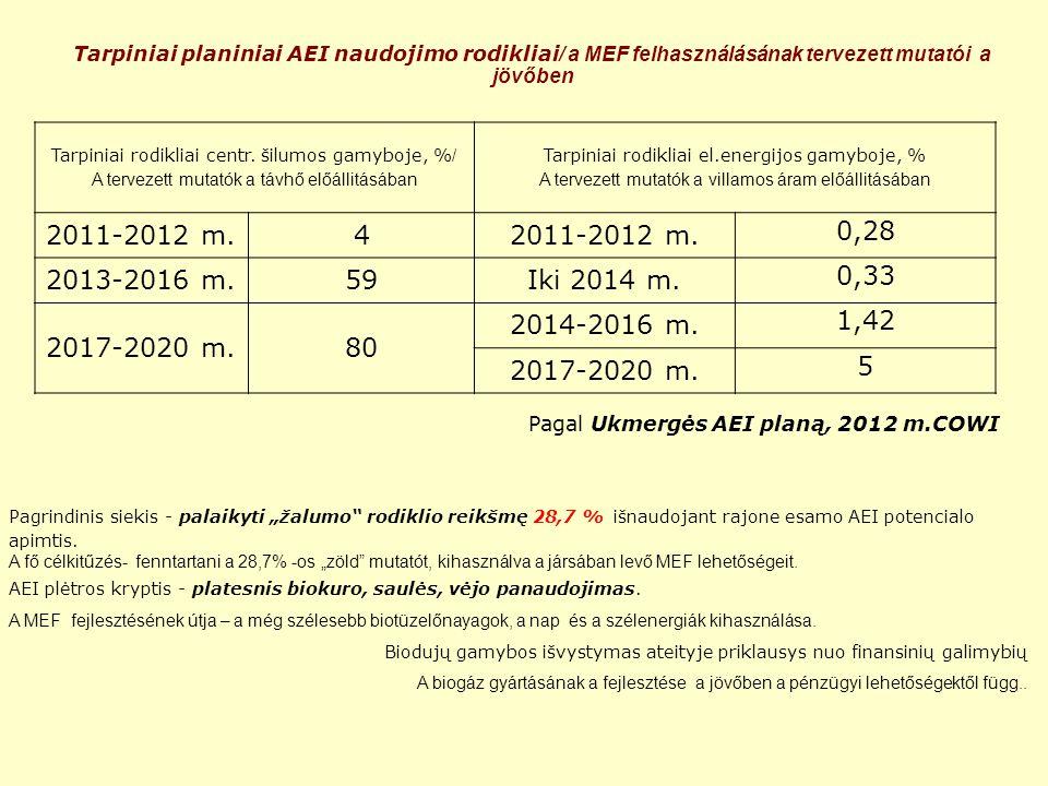 """Tarpiniai planiniai AEI naudojimo rodikliai / a MEF felhasználásának tervezett mutatói a jövőben Pagrindinis siekis - palaikyti """"žalumo rodiklio reikšmę 28,7 % išnaudojant rajone esamo AEI potencialo apimtis."""