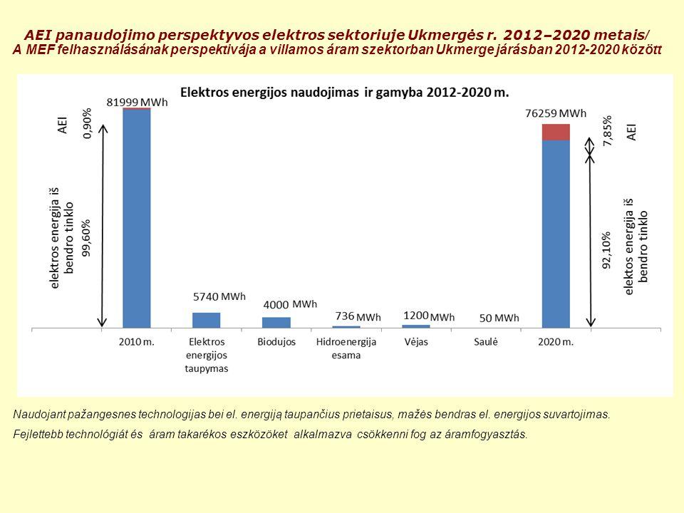 AEI panaudojimo perspektyvos elektros sektoriuje Ukmergės r. 2012–2020 metais / A MEF felhasználásának perspektivája a villamos áram szektorban Ukmerg