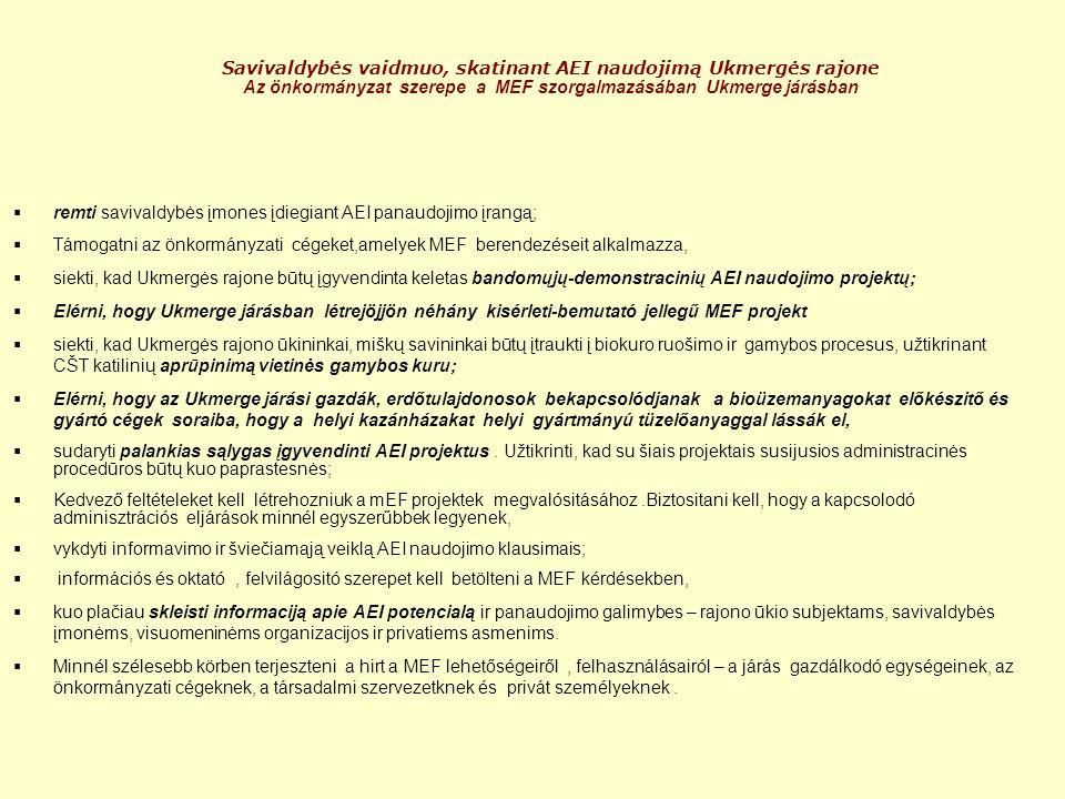 Savivaldybės vaidmuo, skatinant AEI naudojimą Ukmergės rajone Az önkormányzat szerepe a MEF szorgalmazásában Ukmerge járásban  remti savivaldybės įmones įdiegiant AEI panaudojimo įrangą;  Támogatni az önkormányzati cégeket,amelyek MEF berendezéseit alkalmazza,  siekti, kad Ukmergės rajone būtų įgyvendinta keletas bandomųjų-demonstracinių AEI naudojimo projektų;  Elérni, hogy Ukmerge járásban létrejöjjön néhány kisérleti-bemutató jellegű MEF projekt  siekti, kad Ukmergės rajono ūkininkai, miškų savininkai būtų įtraukti į biokuro ruošimo ir gamybos procesus, užtikrinant CŠT katilinių aprūpinimą vietinės gamybos kuru;  Elérni, hogy az Ukmerge járási gazdák, erdőtulajdonosok bekapcsolódjanak a bioüzemanyagokat előkészitő és gyártó cégek soraiba, hogy a helyi kazánházakat helyi gyártmányú tüzelőanyaggal lássák el,  sudaryti palankias sąlygas įgyvendinti AEI projektus.