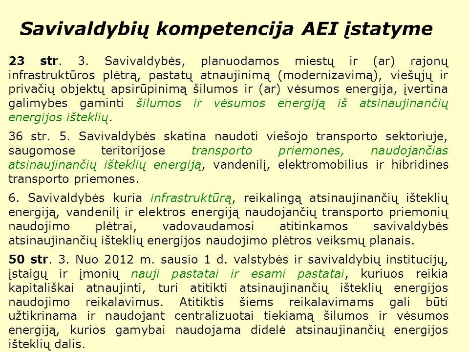 Savivaldybių kompetencija AEI įstatyme 23 str. 3.