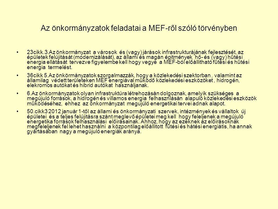 Az önkormányzatok feladatai a MEF-ről szóló törvényben 23cikk.3.Az önkormányzat a városok és (vagy) járások infrastrukturájának fejlesztését, az épületek felújitását (modernizálását), az állami és magán épitmények hő- és (vagy) hűtési energia ellátását tervezve figyelembe kell hogy vegye a MEF-ból előállitható fűtési és hűtési energia termelést.