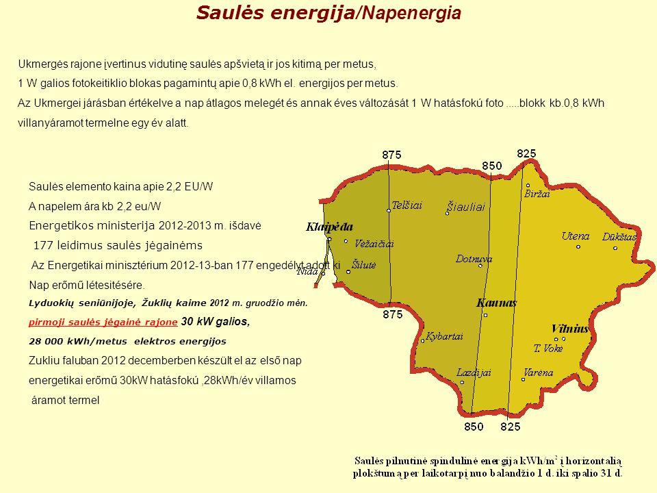 Saulės energija /Napenergia Ukmergės rajone įvertinus vidutinę saulės apšvietą ir jos kitimą per metus, 1 W galios fotokeitiklio blokas pagamintų apie 0,8 kWh el.