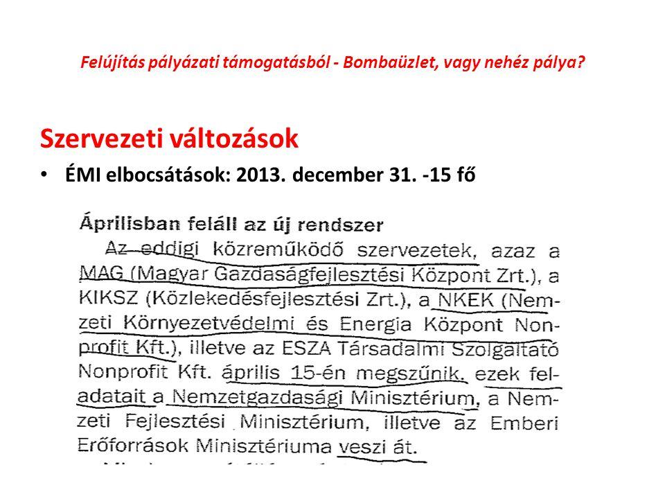 Felújítás pályázati támogatásból - Bombaüzlet, vagy nehéz pálya? Szervezeti változások ÉMI elbocsátások: 2013. december 31. -15 fő