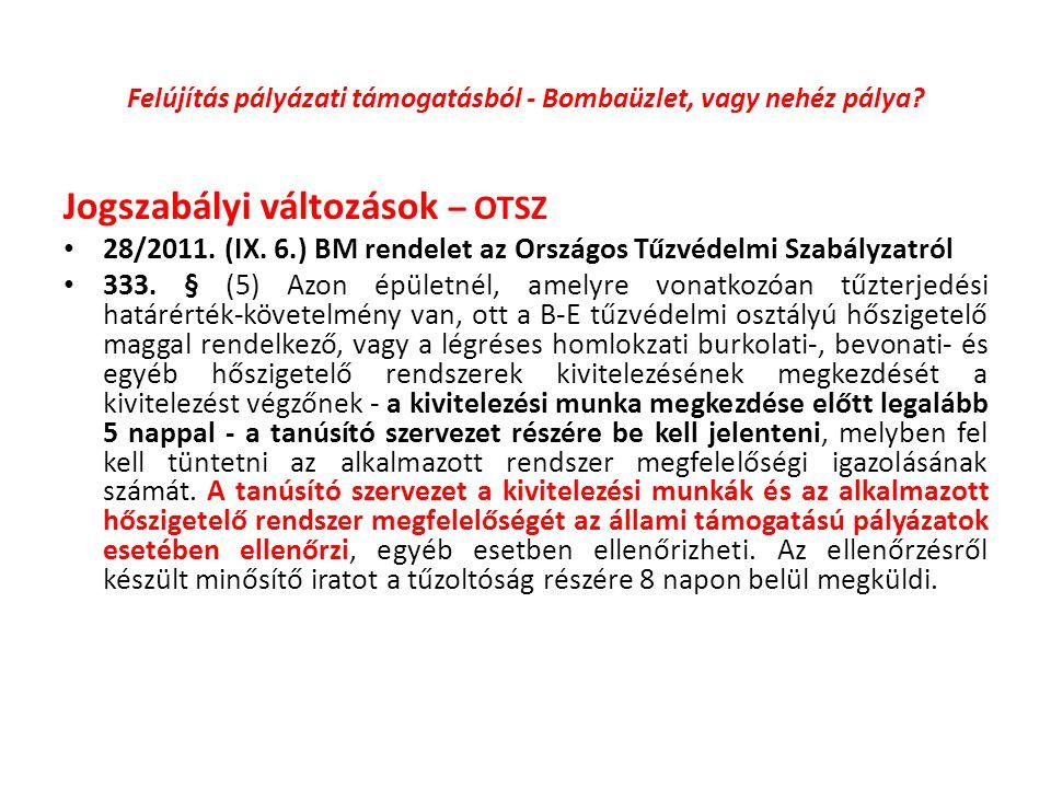 Felújítás pályázati támogatásból - Bombaüzlet, vagy nehéz pálya? Jogszabályi változások – OTSZ 28/2011. (IX. 6.) BM rendelet az Országos Tűzvédelmi Sz