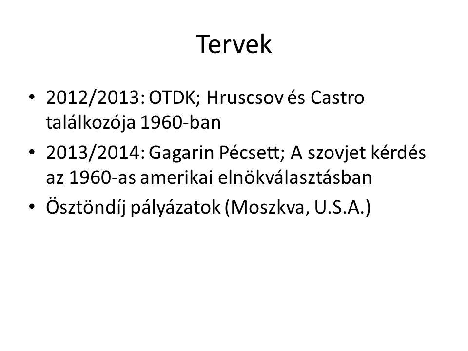 Tervek 2012/2013: OTDK; Hruscsov és Castro találkozója 1960-ban 2013/2014: Gagarin Pécsett; A szovjet kérdés az 1960-as amerikai elnökválasztásban Ösztöndíj pályázatok (Moszkva, U.S.A.)