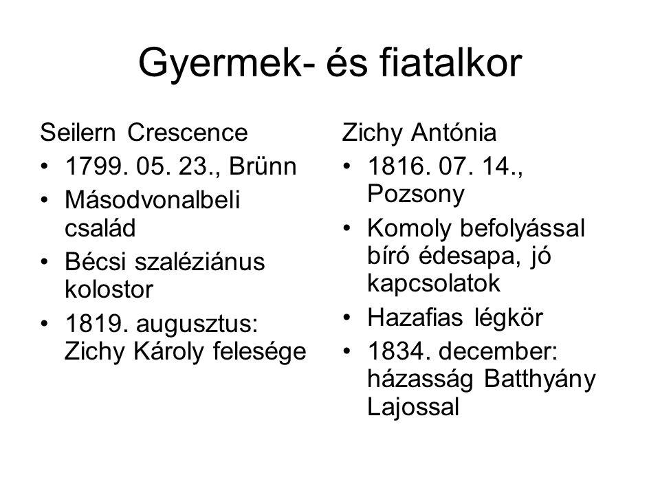 Gyermek- és fiatalkor Seilern Crescence 1799. 05. 23., Brünn Másodvonalbeli család Bécsi szaléziánus kolostor 1819. augusztus: Zichy Károly felesége Z