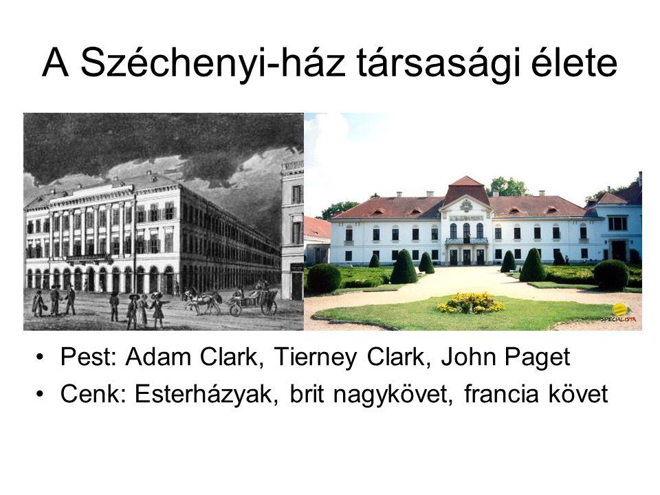 A Széchenyi-ház társasági élete Pest: Adam Clark, Tierney Clark, John Paget Cenk: Esterházyak, brit nagykövet, francia követ