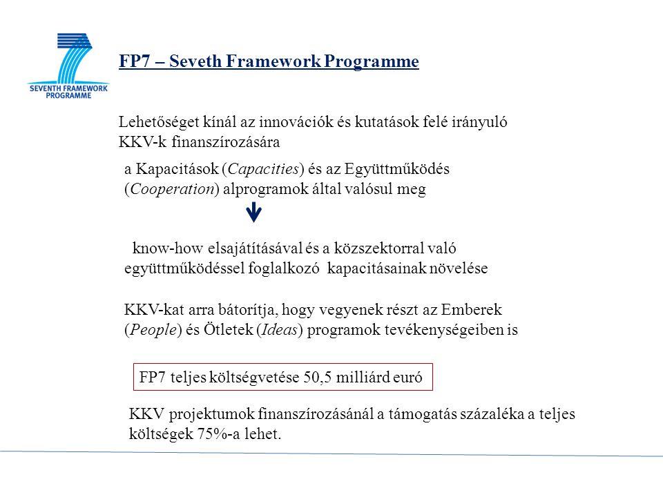 FP7 teljes költségvetése 50,5 milliárd euró KKV projektumok finanszírozásánál a támogatás százaléka pedig a teljes költségek 75%-a lehet.