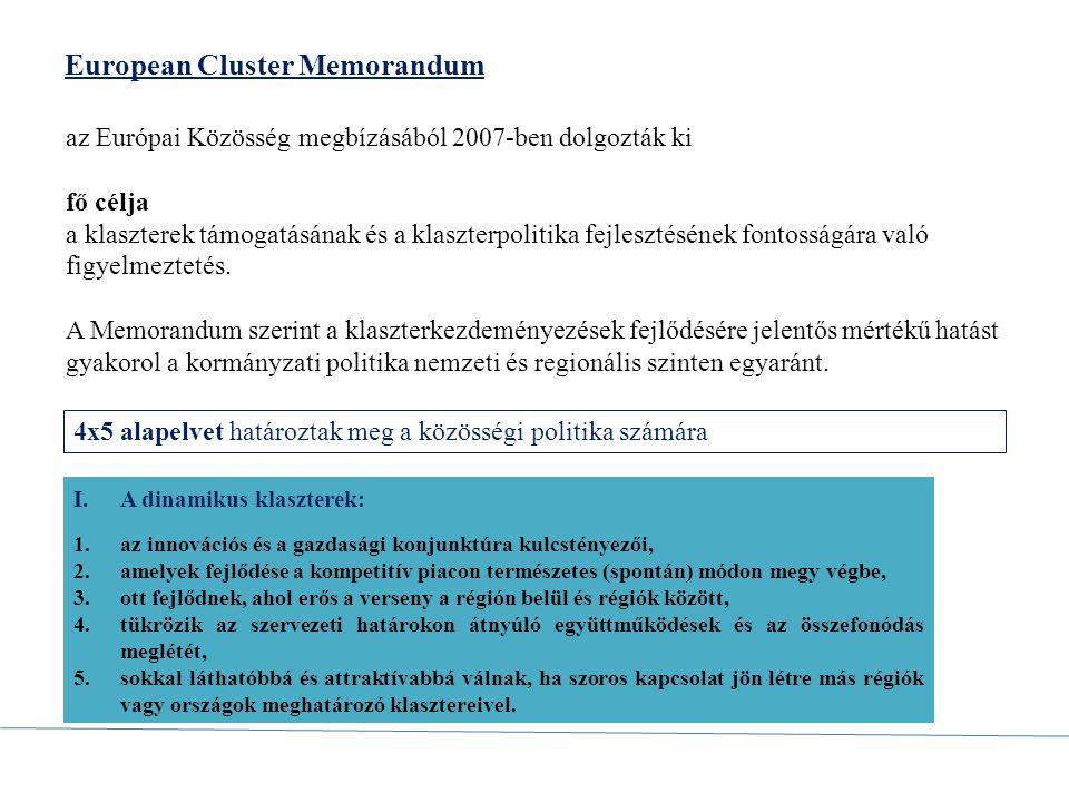 European Cluster Memorandum az Európai Közösség megbízásából 2007-ben dolgozták ki fő célja a klaszterek támogatásának és a klaszterpolitika fejleszté