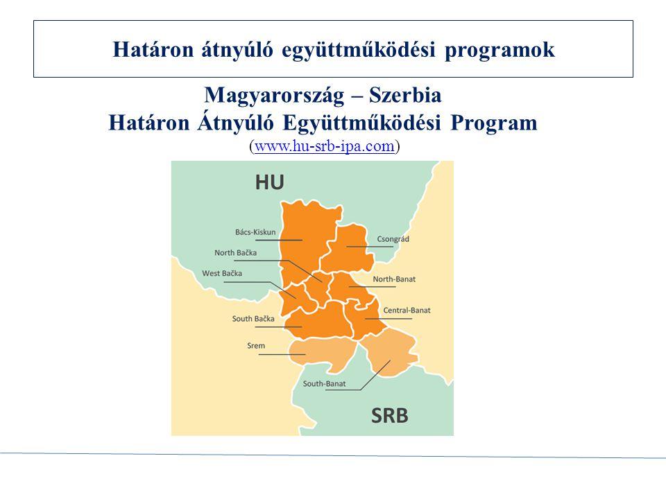 Magyarország-Szerbia IPA Határon Átnyúló Együttműködési Program 2007-2013 A program célja: A program átfogó célja fejleszteni és kiválasztani a határon átnyúló minőségi projektumokat, amelyeknek egyértelmű hozzáadott értéke van és stratégiai jelentőségű a programmal felölelt terület tekintetében.