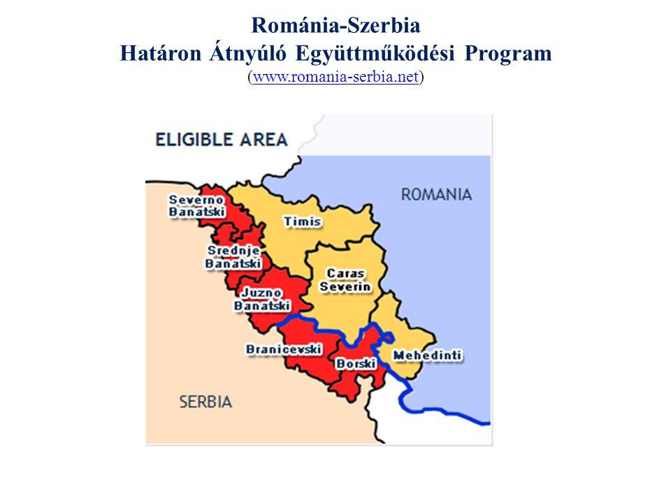 """Románia-Szerbia IPA Határon Átnyúló Együttműködési Program 2007-2013 A program célja: A program stratégiai célja, hogy közös határon átnyúló projektumokkal és a szerb és román stakeholderek közös akcióival elérhető legyen a határ menti térségek kiegyensúlyozott és fenntartható szociális- gazdasági fejlődése 1 prioritás: Gazdasági és társadalmi fejlődés 2 prioritás: Környezetvédelem és katasztrófavédelemre való felkészülés 3 prioritás: """"Nép a népnek csere bemutatása 4 prioritás: Technikai támogatás 1.1 intézkedés: a helyi/ regionális gazdaság és társadalmi infrastruktúra támogatása 2.1 intézkedés: a határ menti problémák megoldási rendszerének és megközelítésének előmozdítása, környezetvédelem és -kezelés 3.1 intézkedés: a civil társadalom és helyi közösség fejlesztésének támogatása 4.1 intézkedés: a program alkalmazásának, teljes irányításának és értékelésének támogatása 1.2 intézkedés: a turizmus szektor fejlesztése, ideértve a határ menti térségek regionális önazonosságának mint turisztikai úticél erősítését 2.2 intézkedés: hulladékkezelés és szennyvízkezelés hatásos stratégiájának fejlesztése és alkalmazása 3.2 intézkedés: a helyi közigazgatás előmozdítása a határ menti térségek közösségeinek való helyi szolgáltatások érdekében 4.2 intézkedés: a program publicitásának és információs tevékenységeinek támogatása 1.3 intézkedés: a KKV fejlesztésének támogatása 2.3 intézkedés: felkészülés hatásos rendszereinek fejlesztése és megközelítése 3.3 intézkedés: az oktatási, kulturális és sportcsere javítása 1.4 intézkedés: a kutatási és fejlesztési szint növelésének és az innovációknak a támogatása a határ menti térségekben 3.4 intézkedés: a határ menti térségek társadalmi és kulturális integrációjának serkentése"""