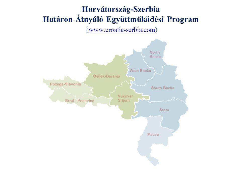 Horvátország-Szerbia IPA Határon Átnyúló Együttműködési Program 2007-2013 A program célja: A határon átnyúló együttműködés motiválása a regionális gazdaság diverzifikációja és javítása érdekében, úgy, hogy szociálisan és ökológiailag fenntartható legyen, valamint a jószomszédi viszonyok előmozdítása az egész határ mentén; az Európai Unió programjainak irányítását végző helyi, regionális és állami intézmények kapacitásainak kiépítése és azok felkészítése a jövőbeni határon átnyúló programok irányítására, összhangban az EU strukturális alapjaival való területi együttműködés céljaival.