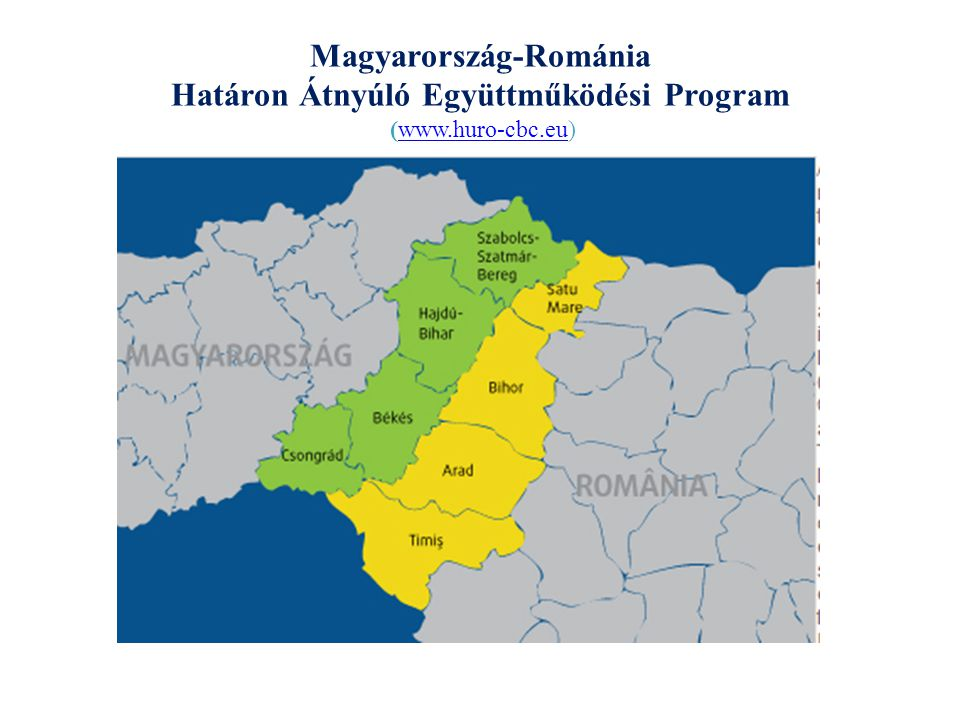 Magyarország-Románia Határon Átnyúló Együttműködési Program 2007-2013 A program célja: a határmenti térség alapvető erősségeire építve közelebb hozni egymáshoz a határmenti térségben élő embereket, közösségeket és gazdasági szereplőket az együttműködésbe bevont térség közös fejlesztésének elősegítése érdekében 1 prioritás: Az együttműködési terület közös, fenntartható fejlesztéséhez szükséges kulcsfeltételek javítása 2 prioritás: A társadalmi és gazdasági kohézió erősítése a határ menti térségben 1.1 beavatkozási terület: a határon átnyúló közlekedés fejlesztése 1.1.1 intézkedés: útfejlesztés 1.1.2.