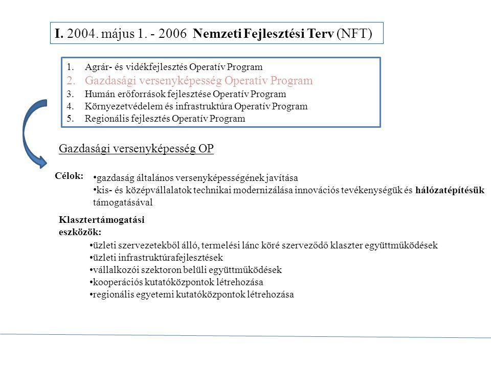 I. 2004. május 1. - 2006 Nemzeti Fejlesztési Terv (NFT) 1.Agrár- és vidékfejlesztés Operatív Program 2.Gazdasági versenyképesség Operatív Program 3.Hu