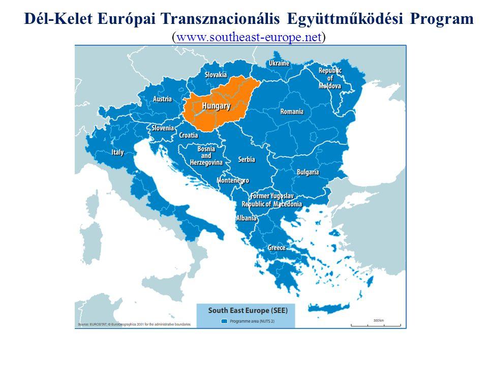 Dél-Kelet Európai Transznacionális Program - SEE A program célja: A SEE program átfogó célja a program résztvevői közti partnerség fejlesztése a következő stratégiai kérdésekben: a területi, gazdasági és szociális integráció előmozdítása, valamint a kohézió, stabilitás és versenyképesség folyamatához való hozzájárulás.