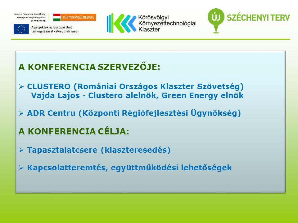 A KONFERENCIA SZERVEZŐJE:  CLUSTERO (Romániai Országos Klaszter Szövetség) Vajda Lajos - Clustero alelnök, Green Energy elnök  ADR Centru (Központi Régiófejlesztési Ügynökség) A KONFERENCIA CÉLJA:  Tapasztalatcsere (klaszteresedés)  Kapcsolatteremtés, együttműködési lehetőségek A KONFERENCIA SZERVEZŐJE:  CLUSTERO (Romániai Országos Klaszter Szövetség) Vajda Lajos - Clustero alelnök, Green Energy elnök  ADR Centru (Központi Régiófejlesztési Ügynökség) A KONFERENCIA CÉLJA:  Tapasztalatcsere (klaszteresedés)  Kapcsolatteremtés, együttműködési lehetőségek