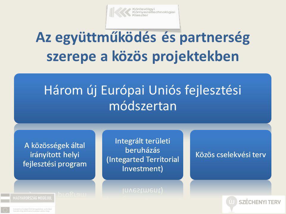 Az együttműködés és partnerség szerepe a közös projektekben Három új Európai Uniós fejlesztési módszertan A közösségek által irányított helyi fejlesztési program Integrált területi beruházás (Integarted Territorial Investment) Közös cselekvési terv
